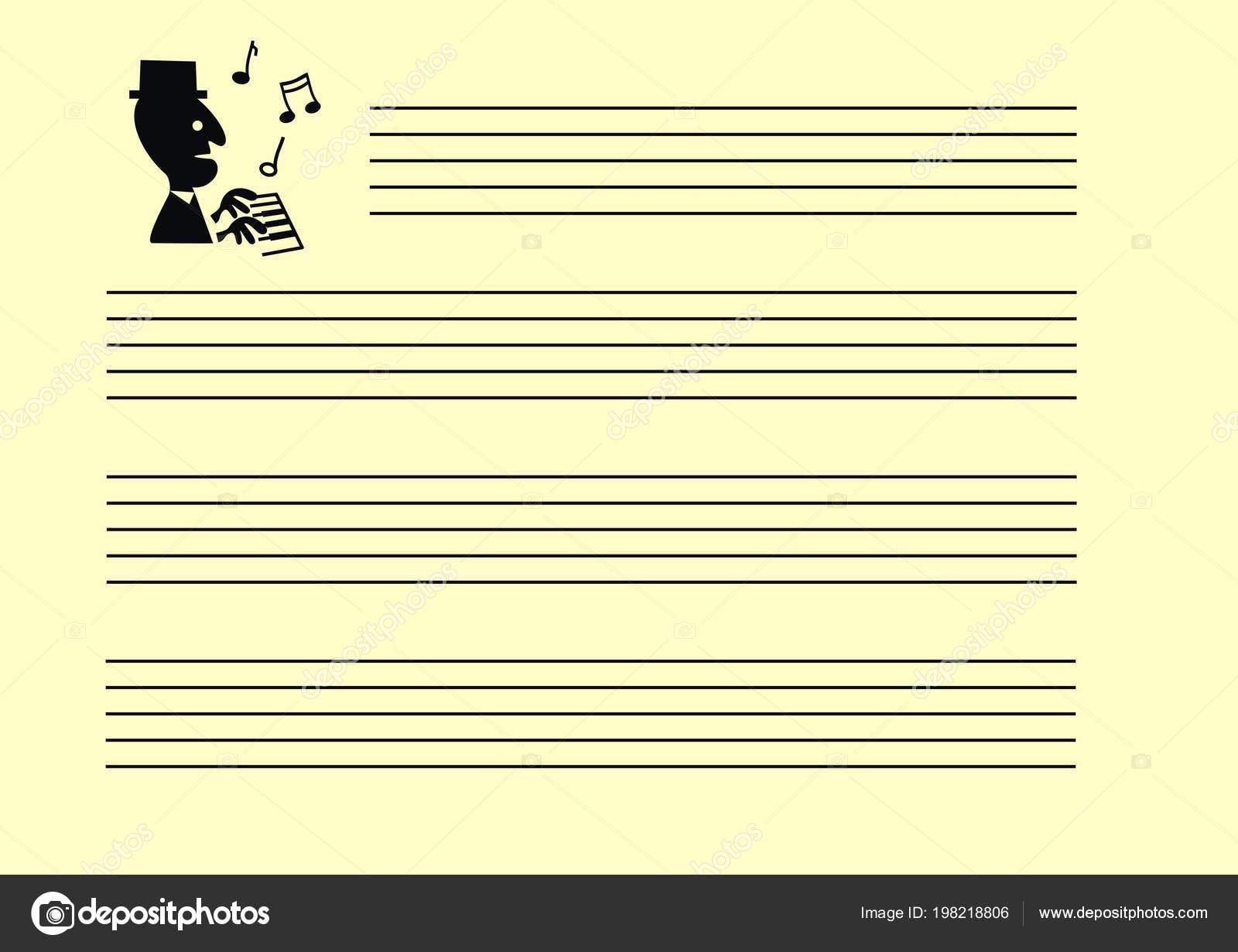Pentagrama Nota Música Hoja Vacía Cuaderno Notas Musicales Con ...