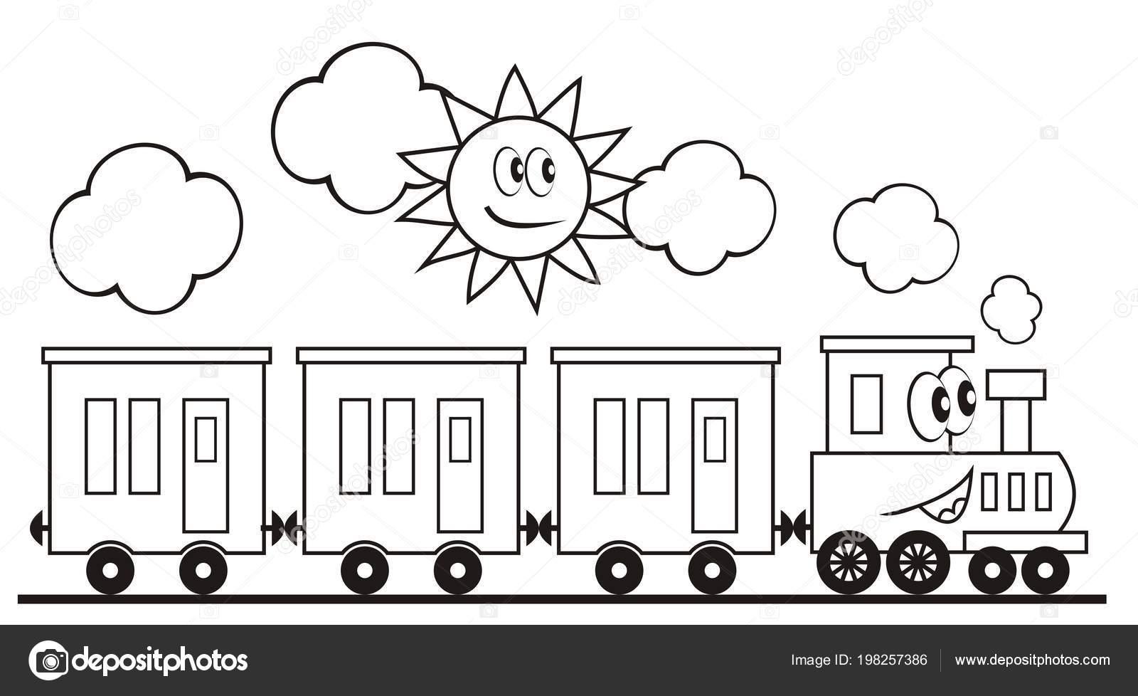 Küme Vagonları Lokomotif Tren Komik Vektör çizim Tren Güneş Gözler