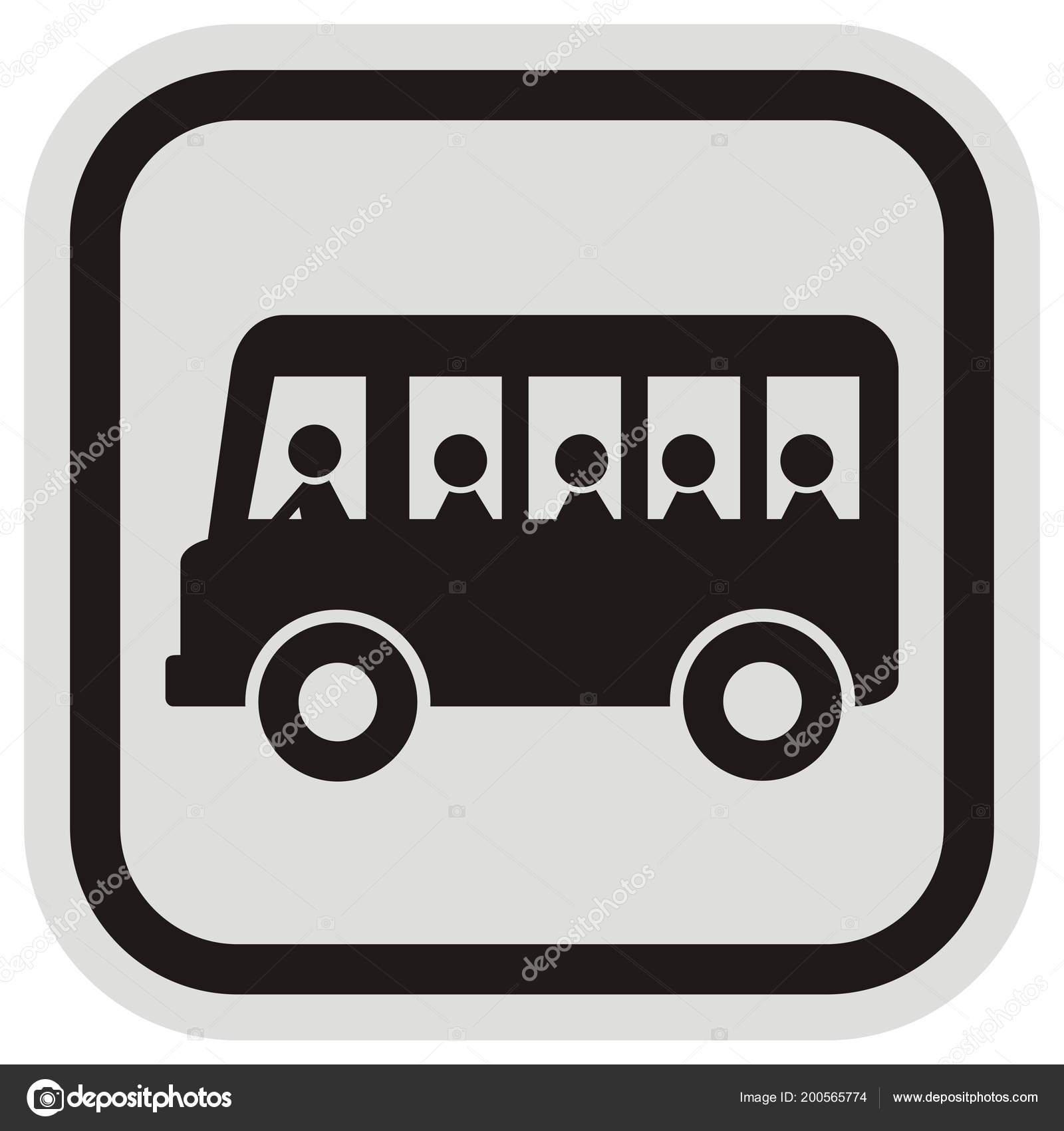 Pasajeros Del Autobús Silueta Negra Marco Negro Gris Autobuses Gente ...