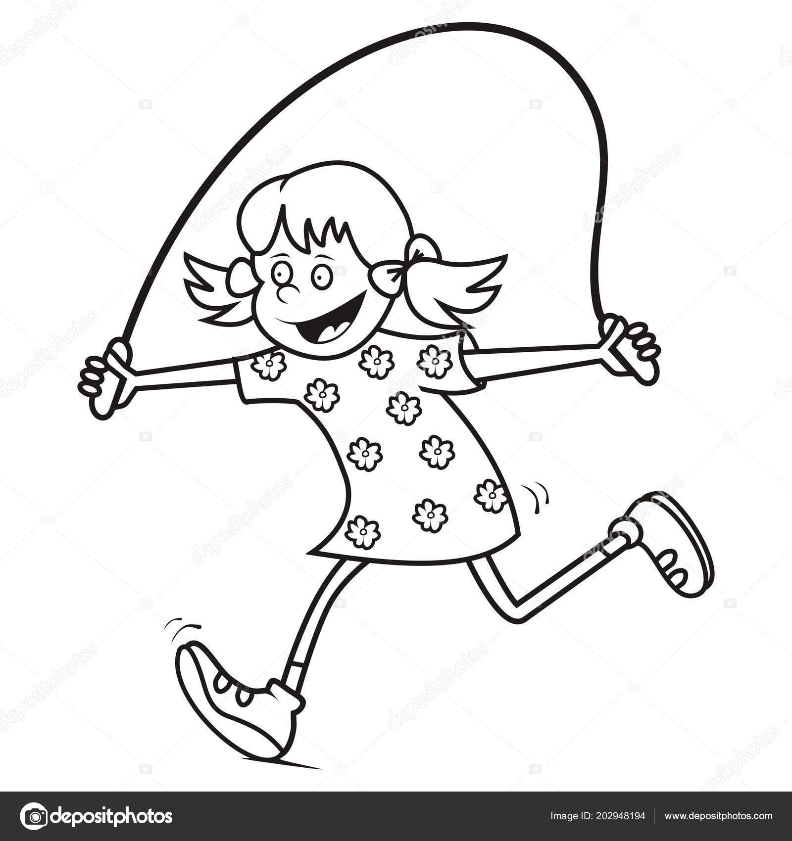 Chica Saltar Cuerda Libro Para Colorear Vector Icono Archivo