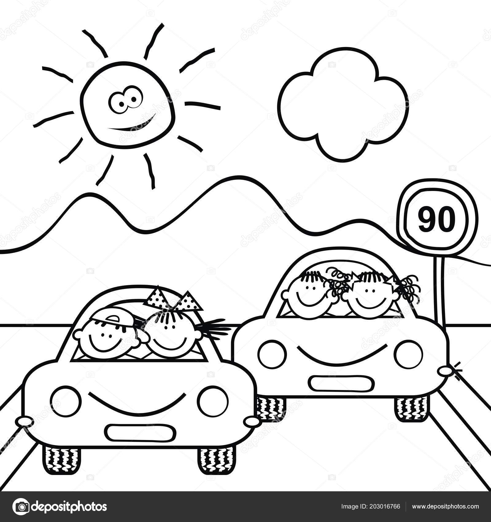 Kids Cars Traffic Sign Landscape Coloring Book Children Vector Icon