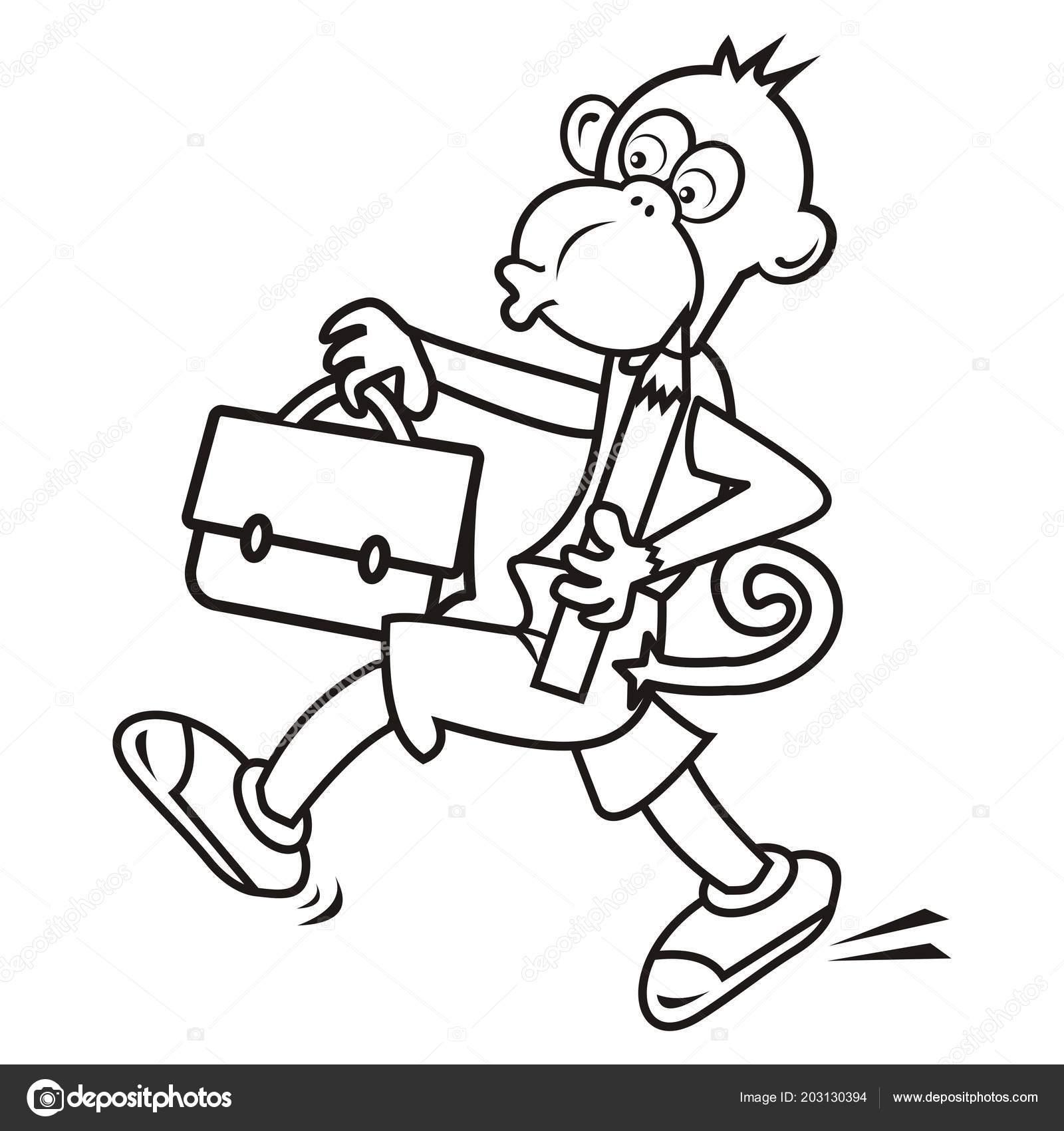 Maymun Boyama Sayfası çantanı Illüstrasyon Vektör Stok Vektör