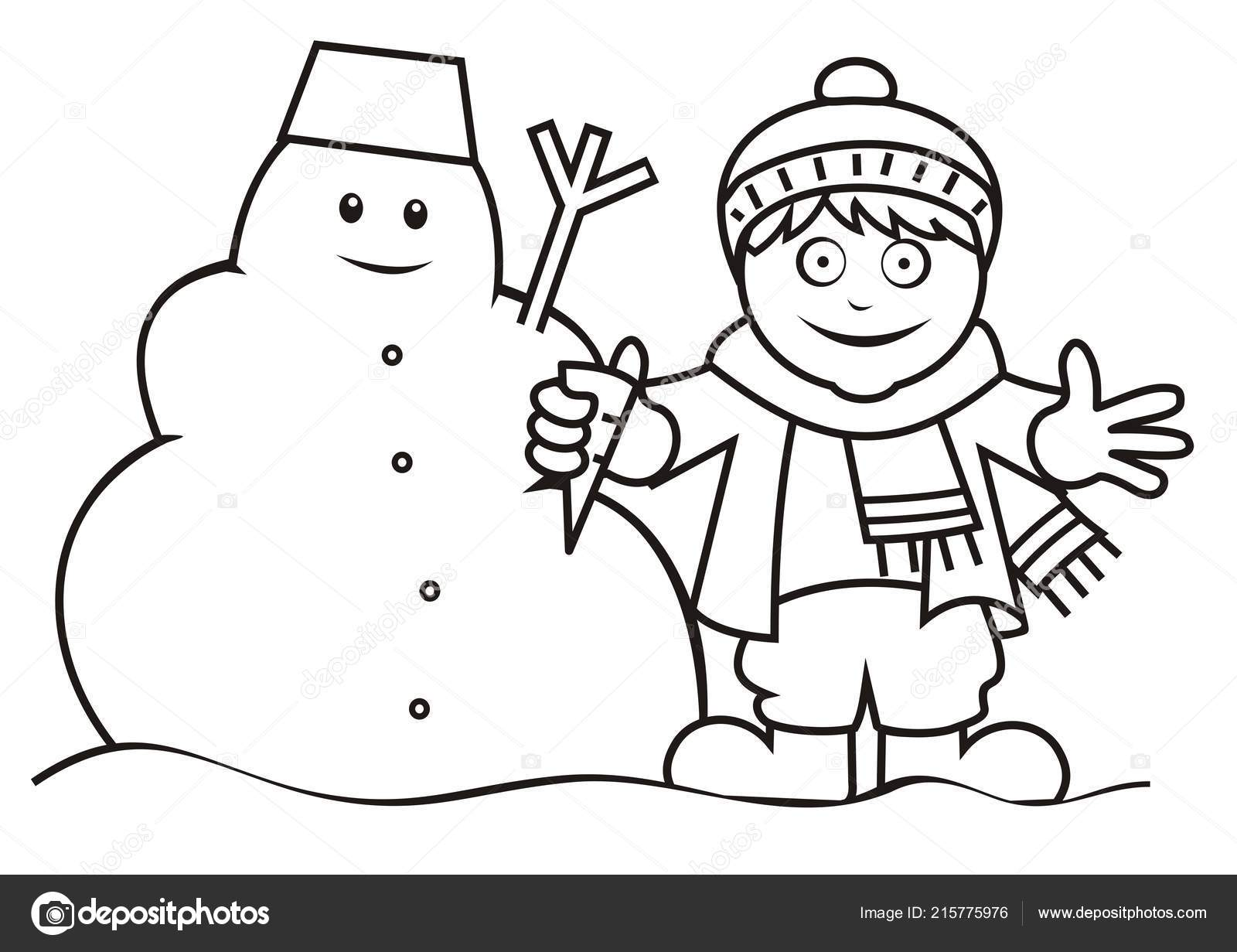 Snowman Coloring Book Boy Snowman Coloring Book Stock Vector