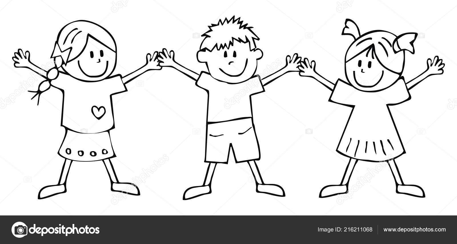 Vettore Di Bambini Che Disegnano Da Colorare Due Ragazze Ragazzo