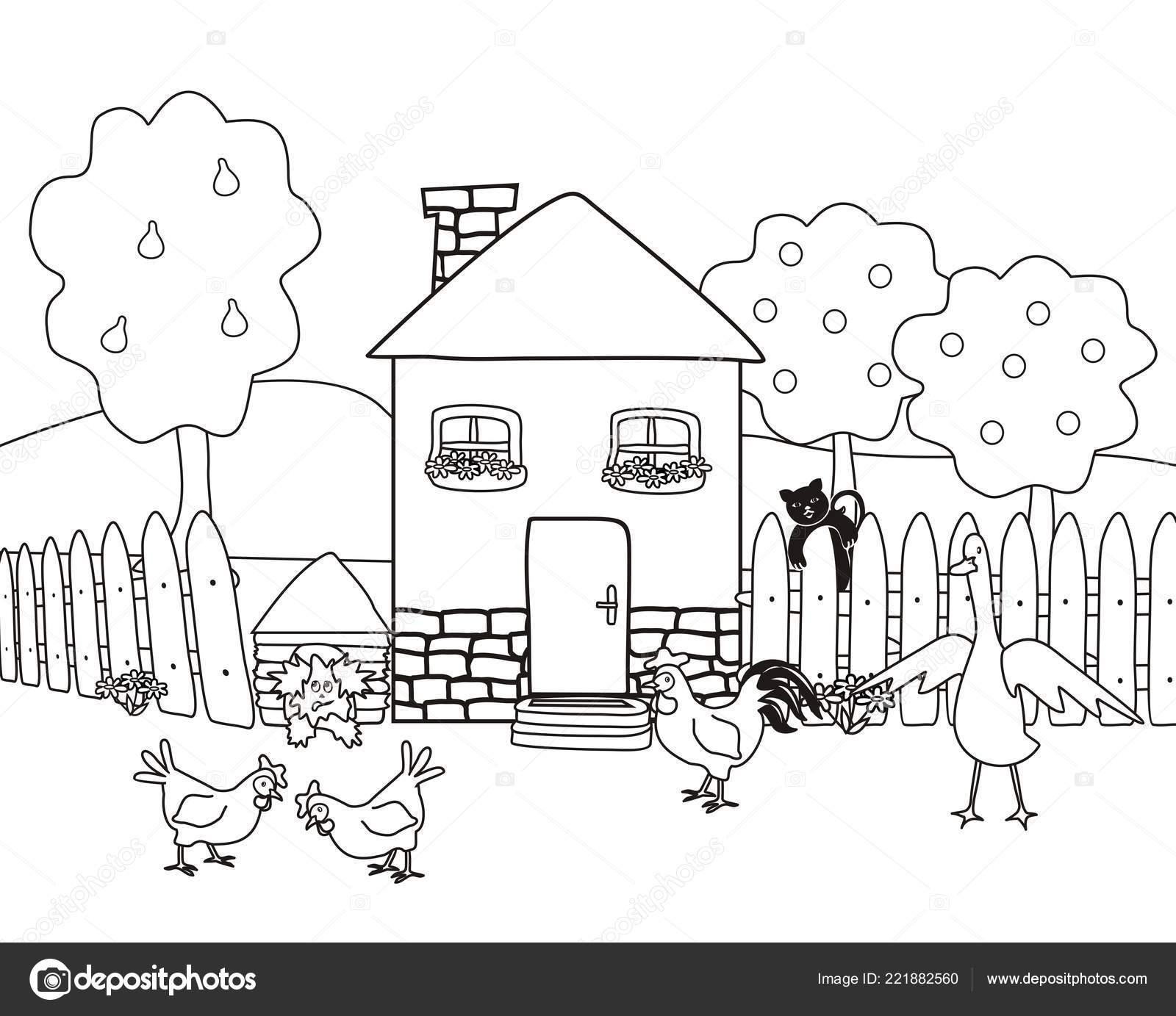 Coloriage Ferme Maison.Maison Jardin Avec Animaux Ferme Coloriages Vector Illustration