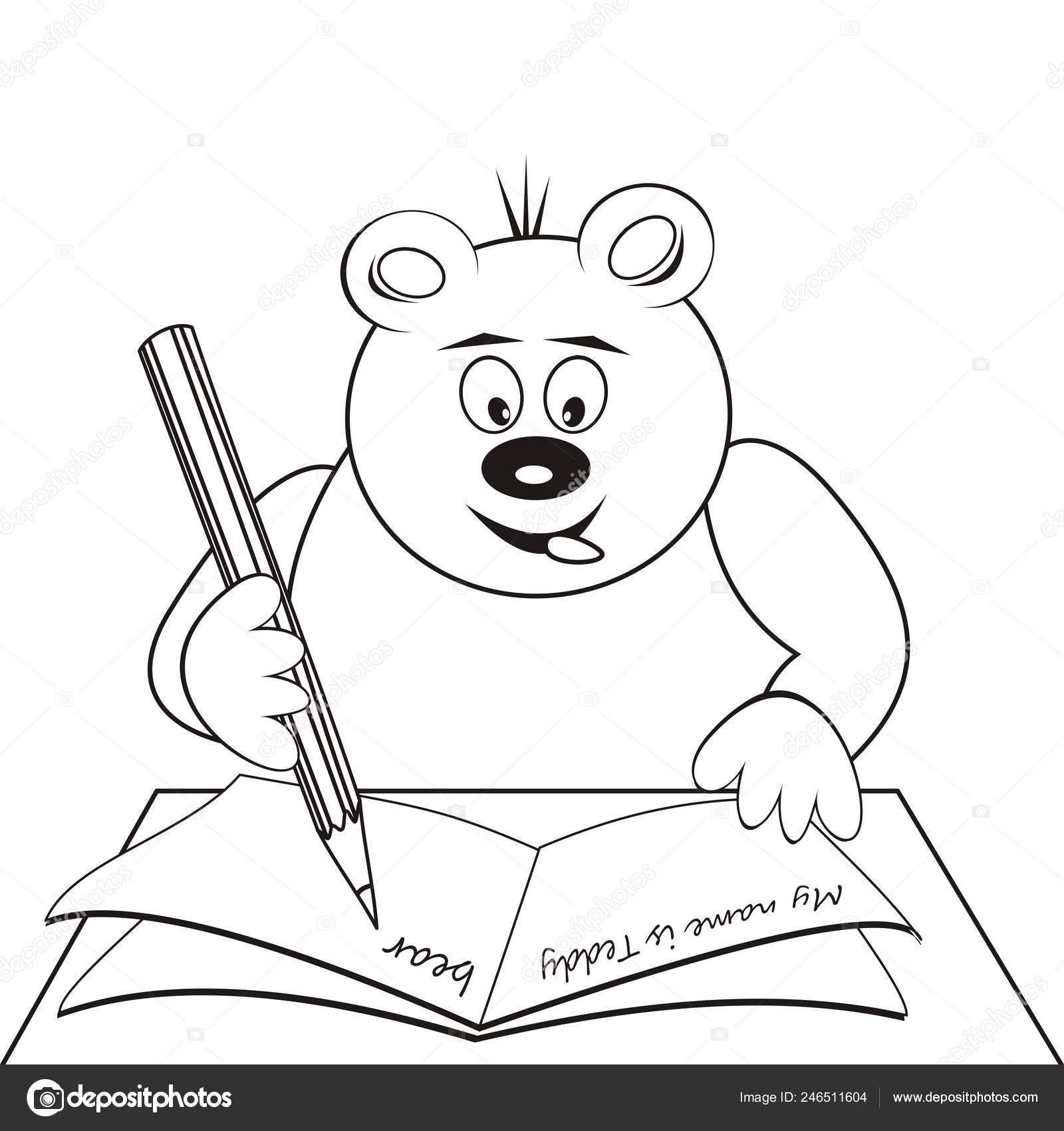 мишка раскраска вектор икона векторное изображение