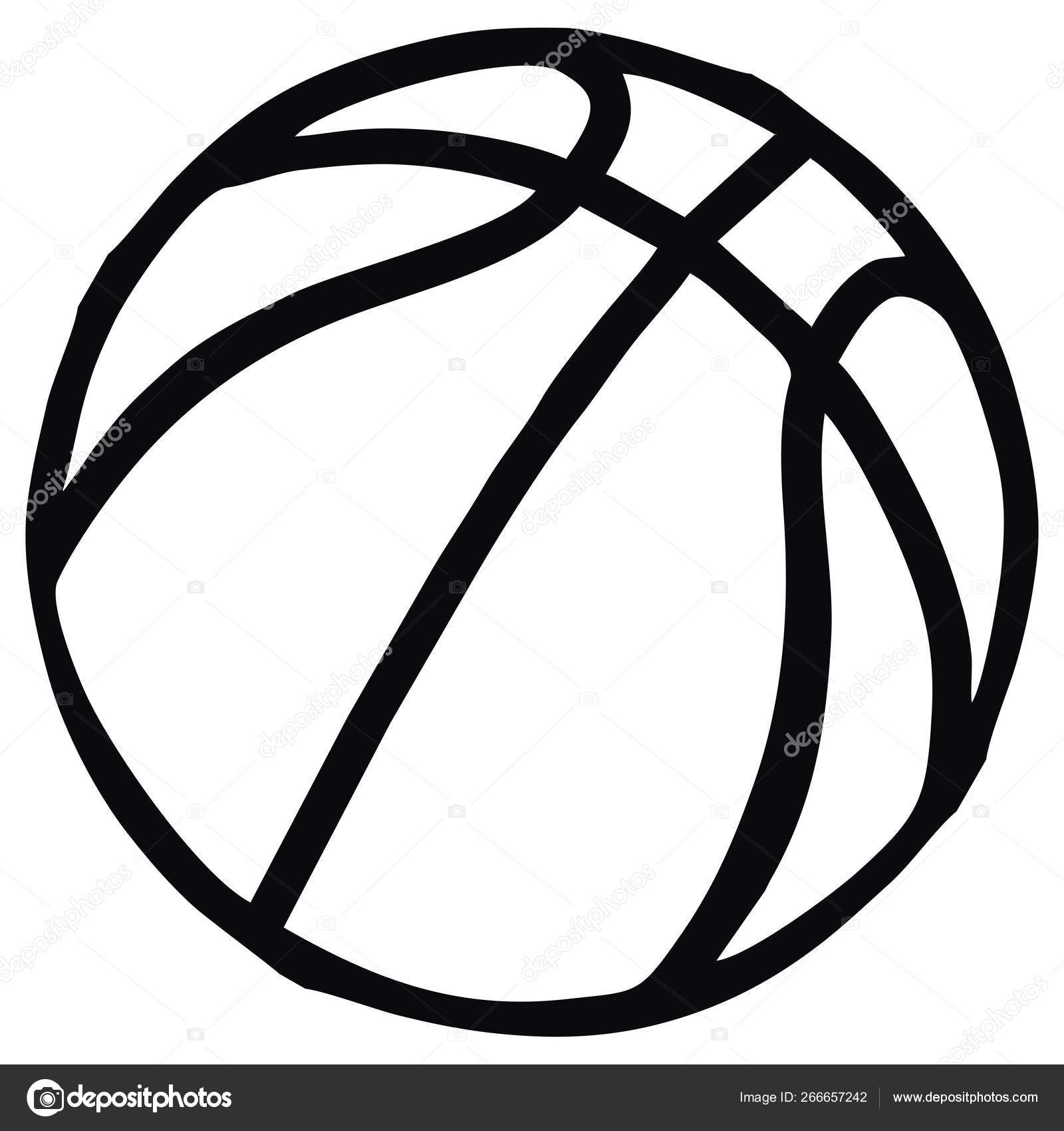 Basketball Single Object Sports Ball Vector Icon Black White Contour Stock Vector C Janista 266657242
