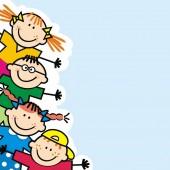 Šťastné malé děti, praporu, legrační vektorová ilustrace