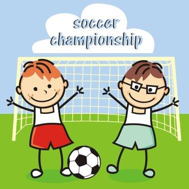 football team, happy kids, vector icon