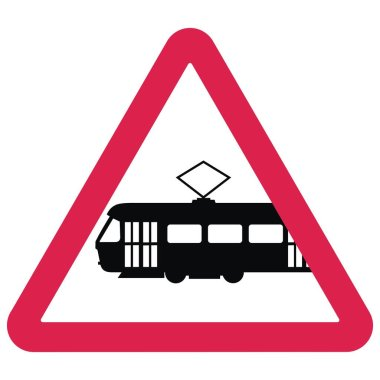 silhouette of tram at red triangle, traffic sign