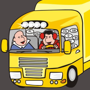 Yellow truck, cabin with two men, humorous vector illustration icon