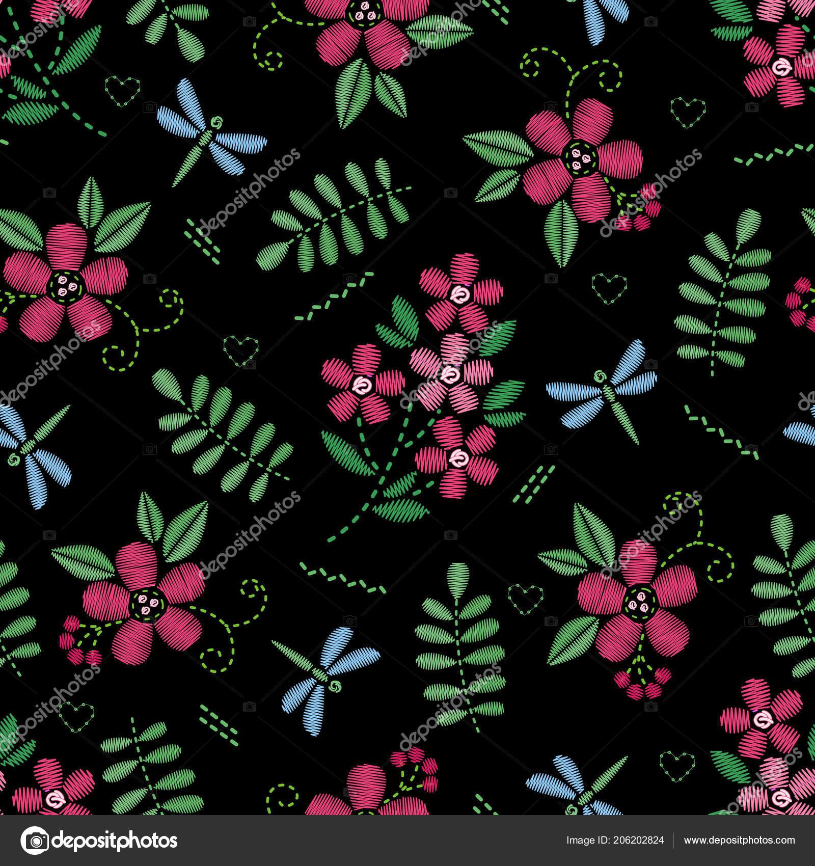 Patrón transparente bordado con flores. Ornamento floral de vector sobre  fondo negro. Bordados de 94768037aced1