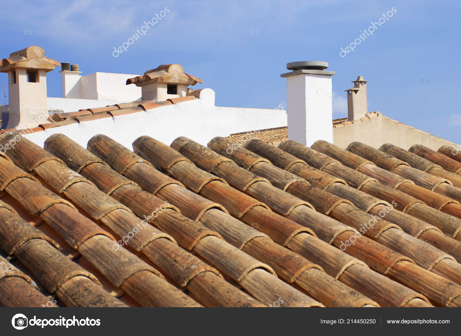 Roof Red Clay Tiles Roof Tiles — Stock Photo © EvaMargalef