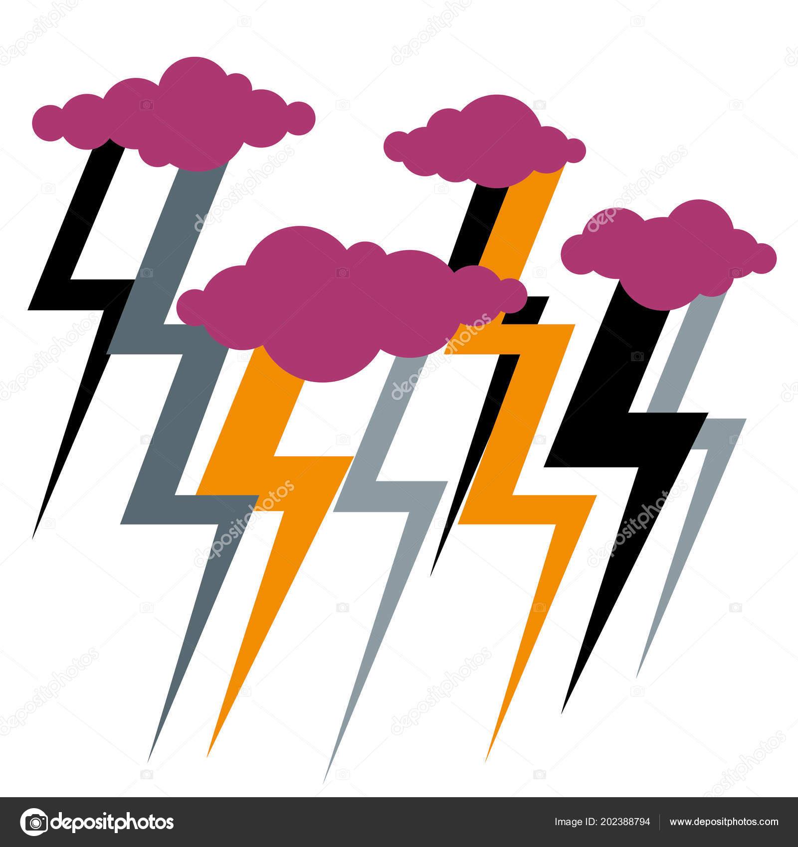 Disegno Simbolo Del Fulmine Tempesta Fulmini Maltempo Vettoriali