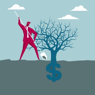 Planting wealth, dollar sign. The background is blue.