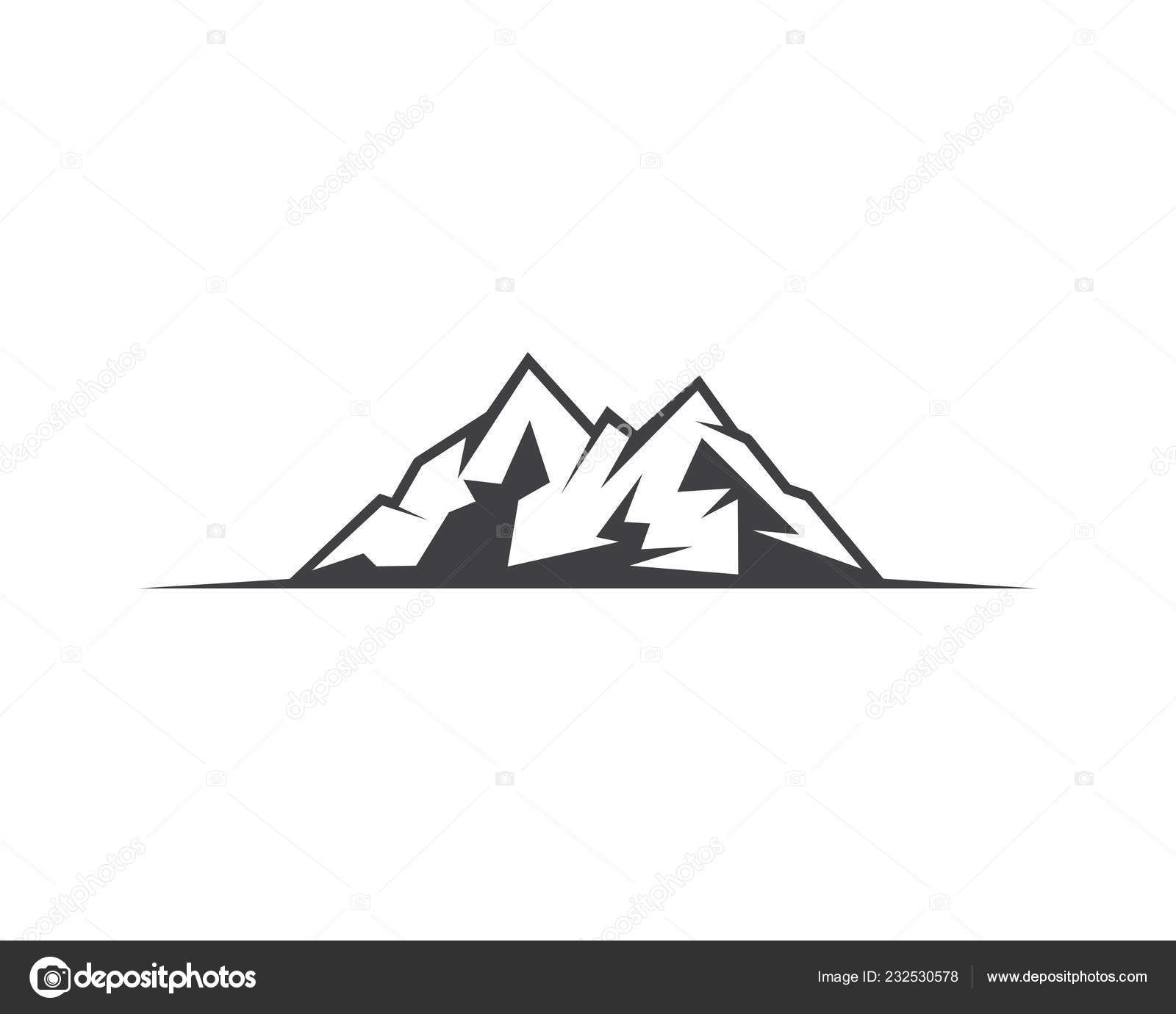 mountain icon logo template vector illustration design stock