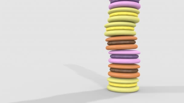 The tower of colorful macaroons is shown from different angles