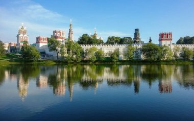 View to Novodevichiy monastery in Moscow from side of Big Novodevichiy pond