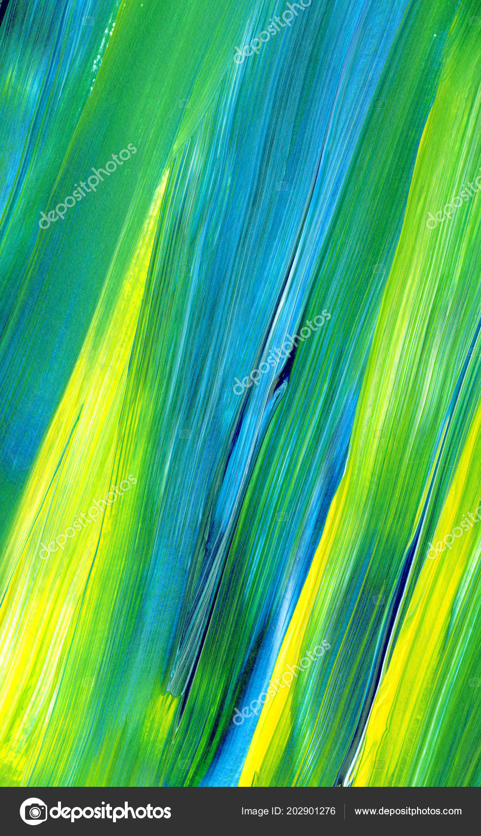 Abstract Acrylic Painting Mixed Colours Green Blue Yellow