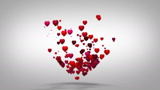 Heart shape valentines day background. Many hearts form one big heart. Flying love red hearts on white background.