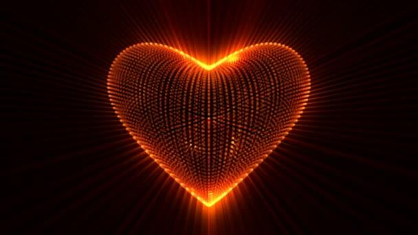 lebendig glühendes Herz mit Lichtstrahlen, das Konzept der Liebe, Looping-Animation.