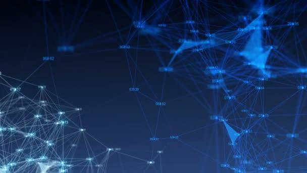 abstrakter Hintergrund mit Zahlen und Netzwerk. nahtloser Looping.