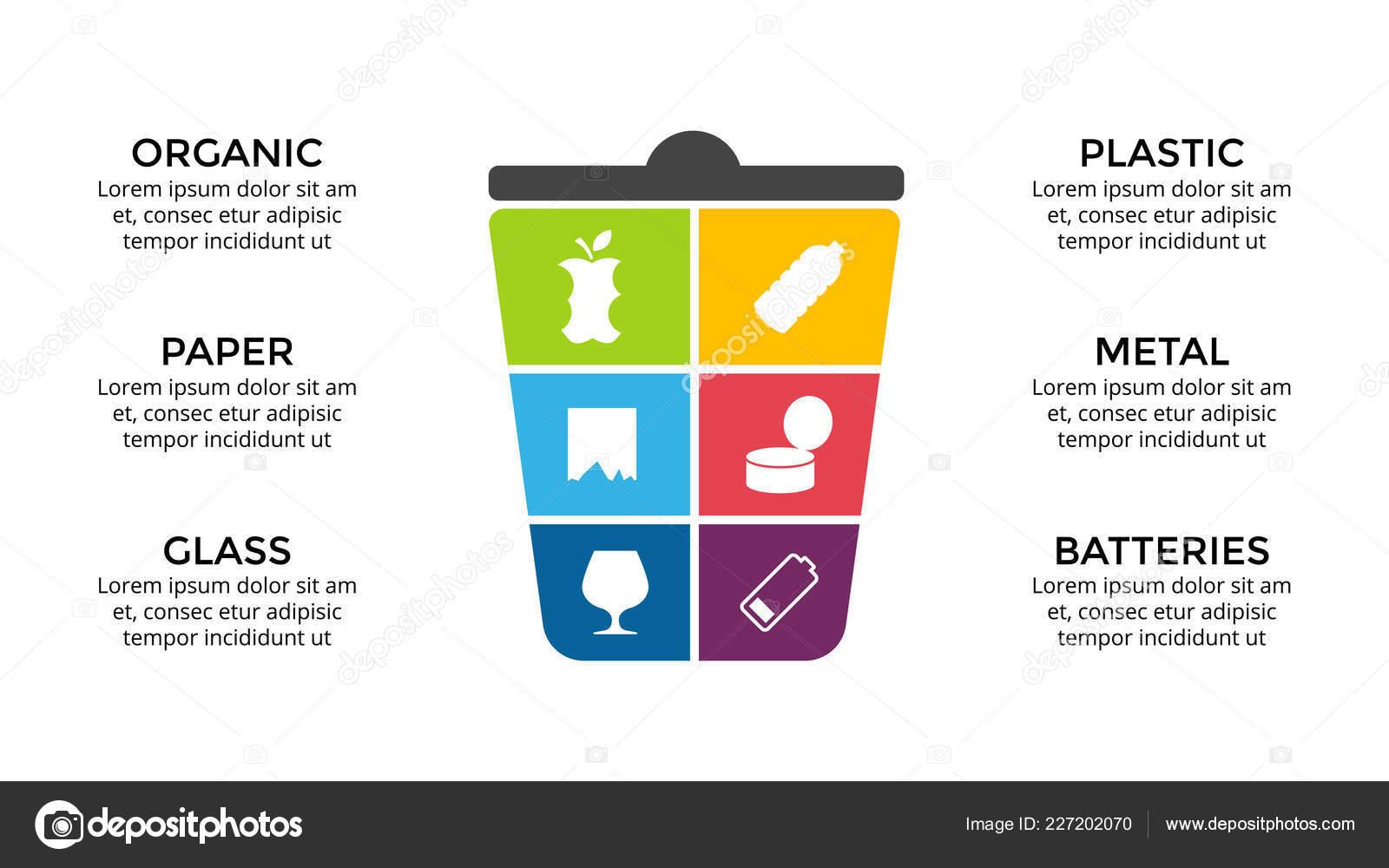 Modelo De Infográfico De Vetor Separação De Gerbage Recicl