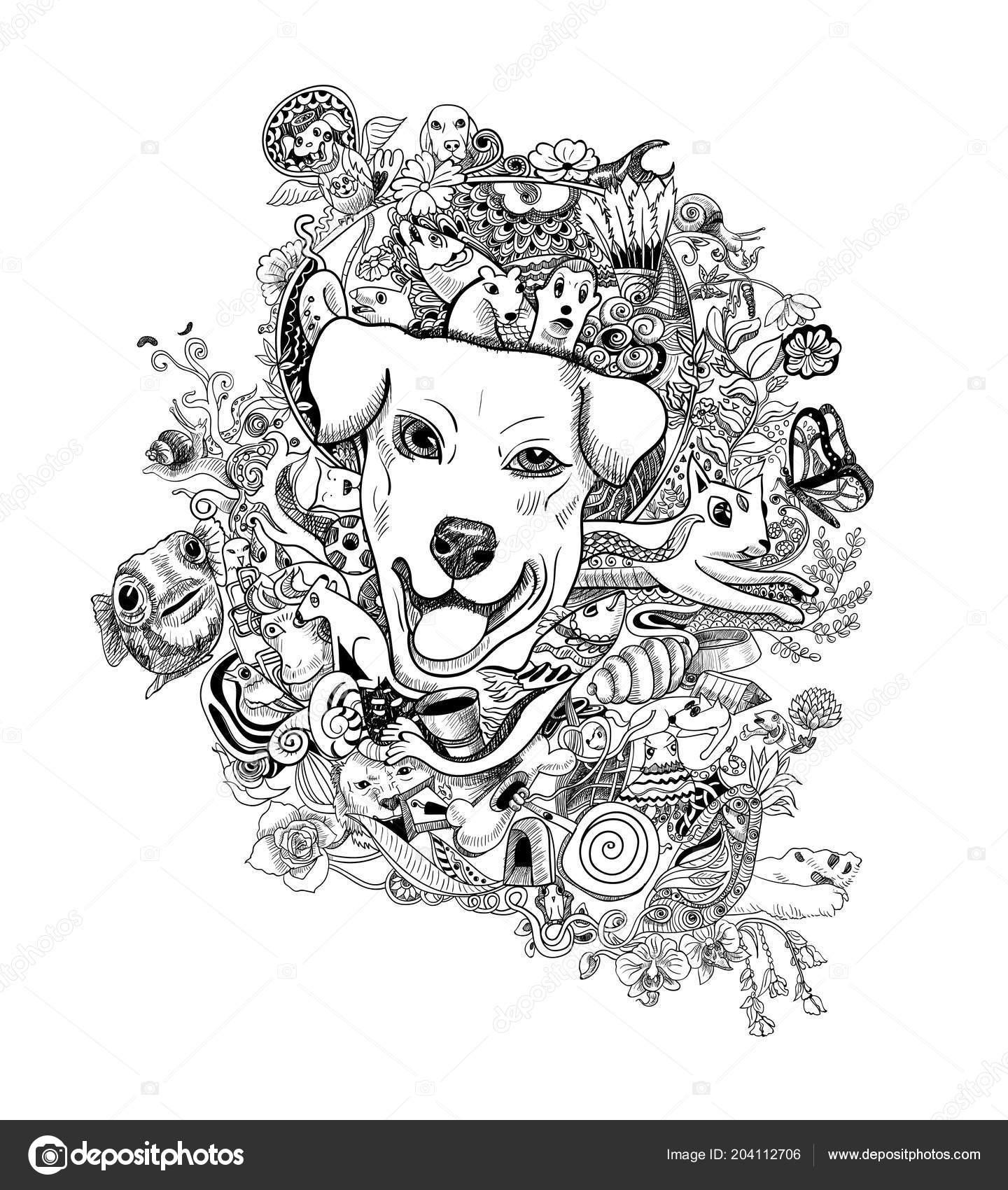 Zeichnen Doodle Hundekopf Mit Tieren Blumen Und Abstrakte Form