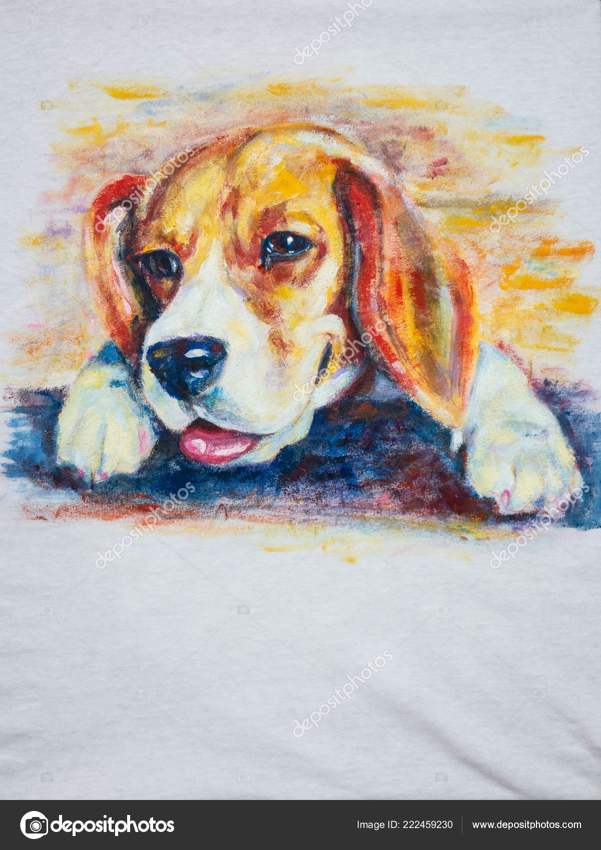 Adorable Beagle Dog Painting White Shirt Stock Photo C Hadkhanong1979 222459230