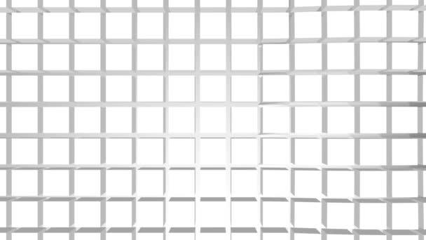 Fehér három dimenziós kockák mozgás háttér. Hullámminta animáció.