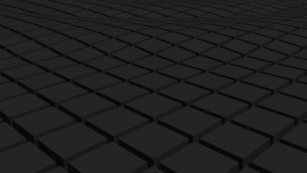 Fekete három dimenziós kockák mozgás háttér. Hullámminta animáció.