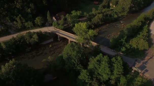 Drone shot of a bridge