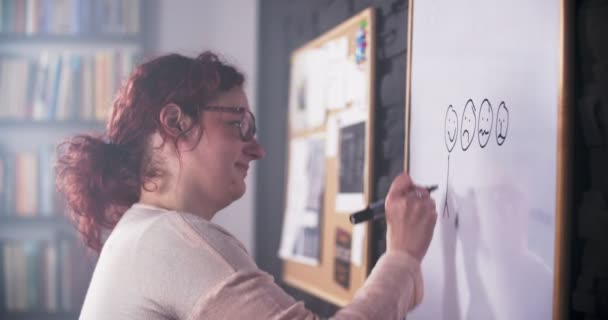 Creative woman is drawing stickman figures on whiteboard