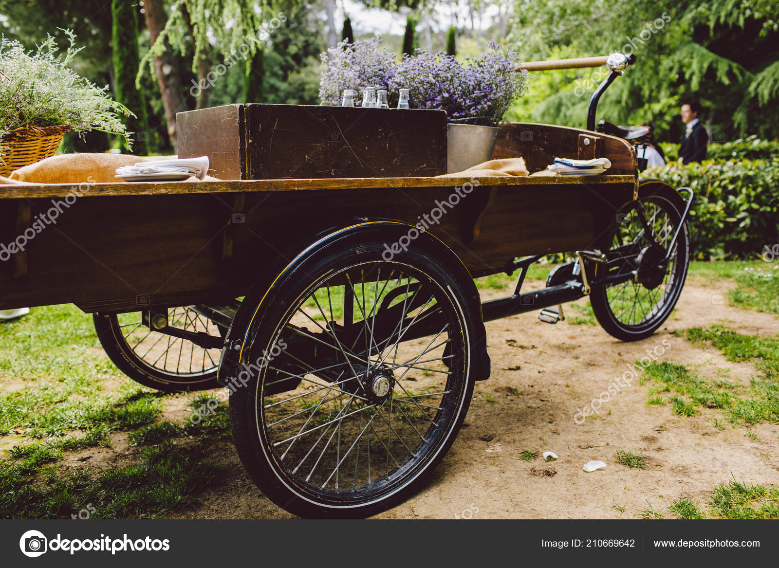 Old Wooden Cart Transport Goods Used Decoration Wedding Stock