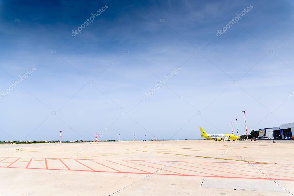 Bari, Italy - March 8, 2019: Italian Posta plane parked at Bari