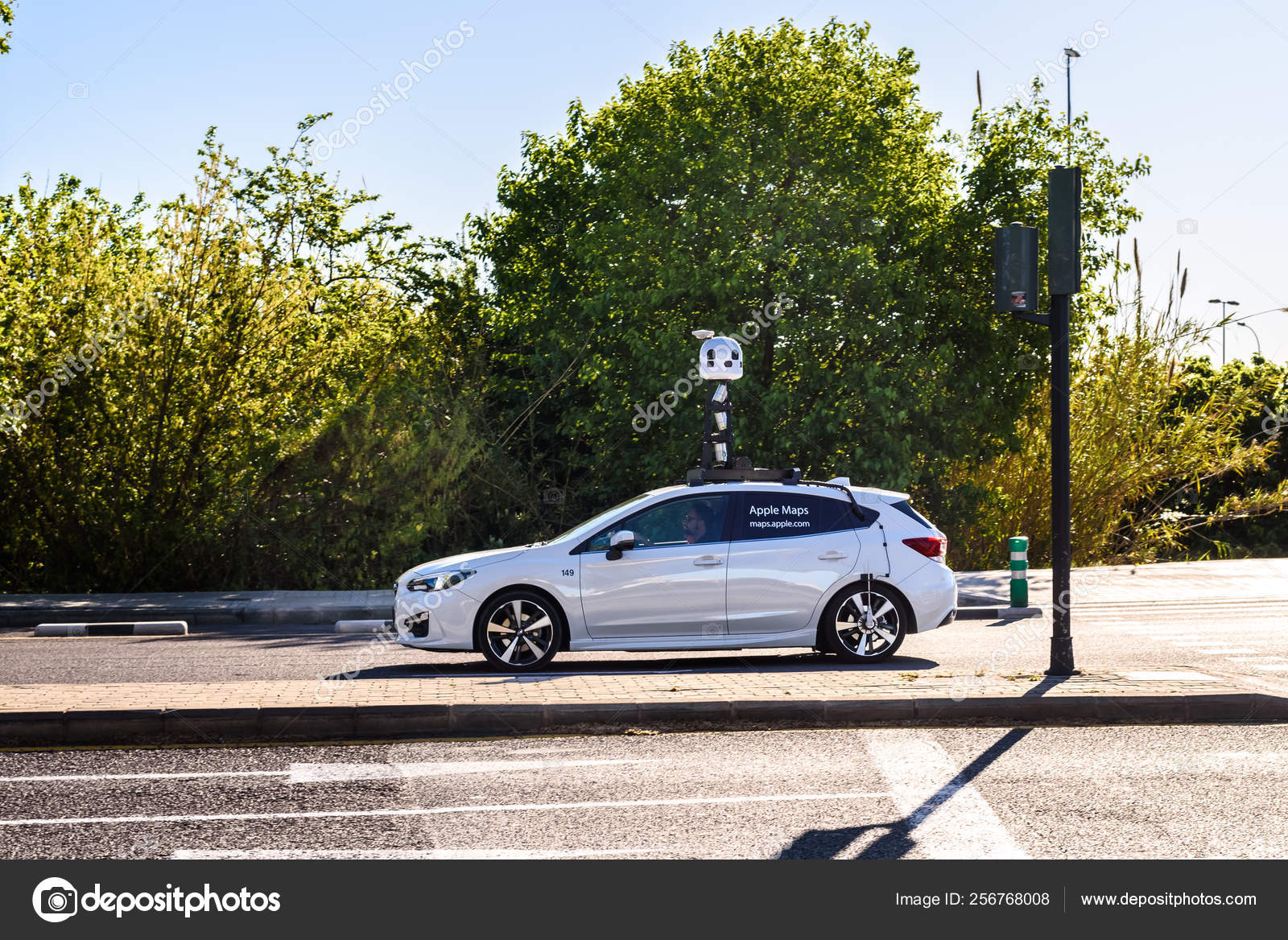 Valencia, Spain - April 9, 2019: Apple Maps car mapping