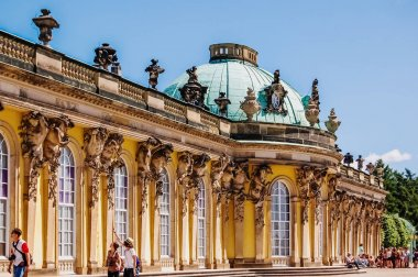 Potsdam, Germany - June 7, 2019: Young tourists in front of the