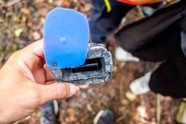 Geocache hidden in a forest found by searchers