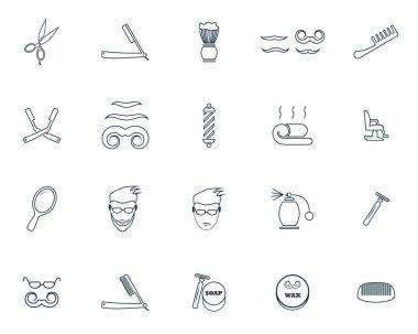 Barbershop icons set. Premium quality symbol collection. Barbershop icon set simple elements stock vector