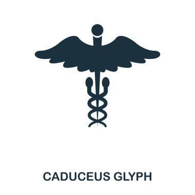 Caduceus Glyph icon. Line style icon design. UI. Illustration of caduceus glyph icon. Pictogram isolated on white. Ready to use in web design, apps, software, print stock vector
