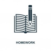 Homework icon. Monochrome style icon design from school icon collection. UI. Illustration of homework icon. Pictogram isolated on white. Ready to use in web design, apps, software, print.