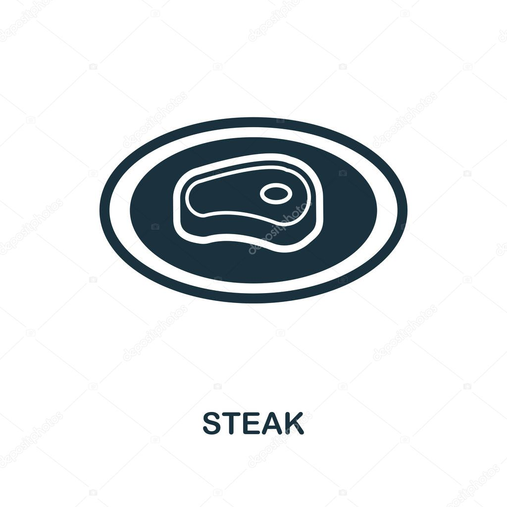 Steak icon. Monochrome style icon design from meal icon collection. UI. Illustration of steak icon. Pictogram isolated on white. Ready to use in web design, apps, software, print.