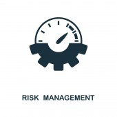 Risk Management icon. Monochrome style design from management icon collection. UI. Pixel perfect simple pictogram risk management icon. Web design, apps, software, print usage.