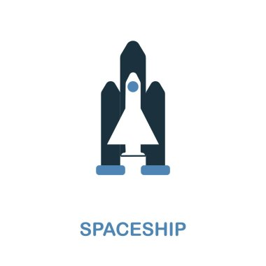 Spaceship icon in 2 color design. Pixel perfect simple pictogram spaceship icon from space collection. UI. Web design, apps, software, print usage. stock vector
