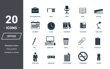 Office icons set. Premium quality symbol collection. Office icon set simple elements. Ready to use in web design, apps, software, print stock vector