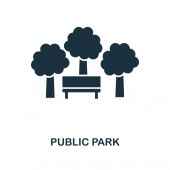 Fotografie Stadtpark-Ikone. Monochromes Design aus der Kollektion Stadtelemente. ui. Pixel perfekte einfache Piktogramm öffentlichen Park Symbol. Webdesign, Apps, Software, Drucknutzung.