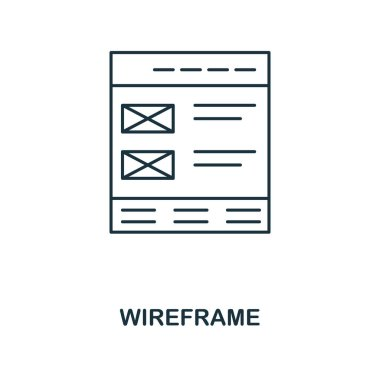 Wireframe outline icon. Simple design from web development icon collection. UI and UX. Pixel perfect wireframe icon. For web design, apps, software, print usage.