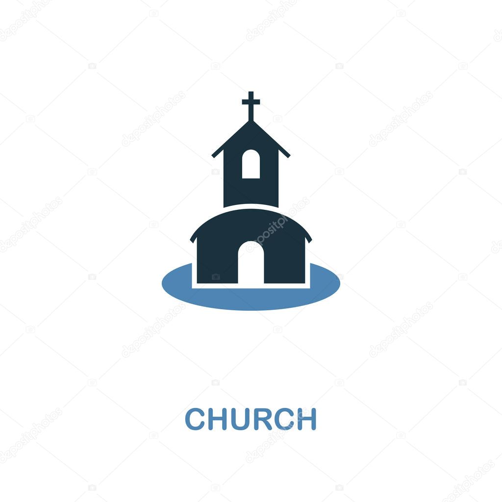 Church Icon In Two Color Design Simple Element Illustration Church Creative Icon From Honeymoon Collection For Web Design Apps And Printing Premium Vector In Adobe Illustrator Ai Ai Format