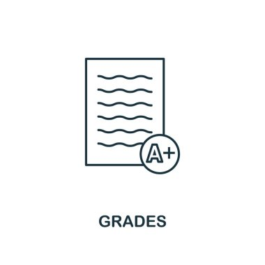 Grades outline icon. Creative design from school icon collection. Premium grades outline icon. For web design, apps, software and printing.