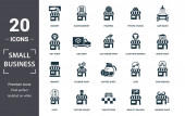 Photo Small Business icon set. Contain filled flat market, taxi station, car wash, ice cream shop, bakery, book shop, barber shop icons. Editable format